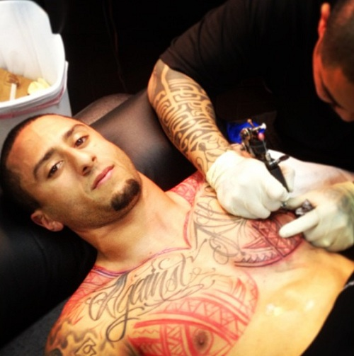 Nfl star colin kaepernick new tribal tattoo bad tattoo for Chest mural tattoos